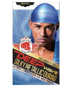 Magic Collection Deep Wave Silky Metallic Durag 4802BLU