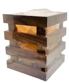 Natural Himalayan Premium Wooden Basket Cube Salt Lamp
