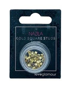 Nail Art Charm Gold Square Studs