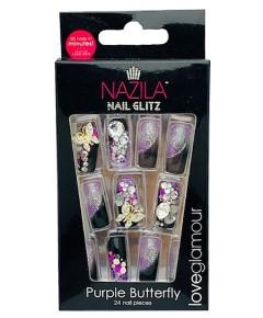 Nail Glitz Love Glamour Purple Butterfly
