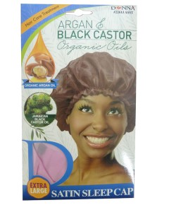 Donna Argan And Black Castor Satin Sleep Cap 22613 ASST