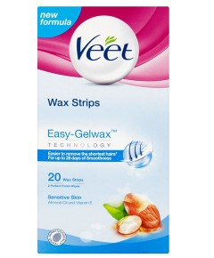 Easy Gel Sensitive Skin Wax Strips With Almond Oil